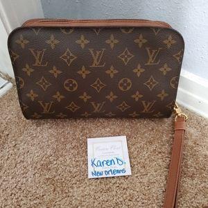 Authentic Louis Vuitton monogram orsay clutch bag